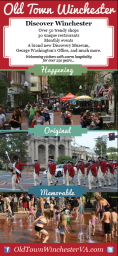 "The third project was to design an advertisement that would be featured in the Winchester & Frederick County visitors guide. This guide is sent to over 100,000 recipients. Mrs. Bell wanted something simple that captured the overall feel of Old Town Winchester. I chose the tagline of ""Discover Winchester: Happening, Original, Memorable"""